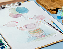 Happy Birthday - cartoon character design watercolour!