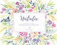 Natalie Watercolor Floral Clipart Set
