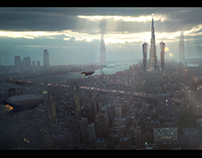 Sci fi City Matte Painting