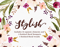 Watercolour Floral Clip Art-Stylish/Separate PNG files