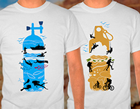 Print t-shirt design: Scuba diving and adventure.