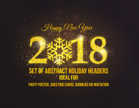 Happy New Year 2018 Golden Greeting Card