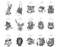 Inktober 2015: Animal Portraits