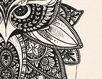 Owl, lotus : tattoo and shirt design