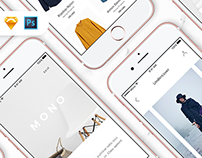 Mono iOS UI Kit / Free Samples Inside