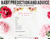 Free Floral Baby Prediction & Advice Printable V2