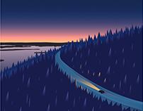 Lapland - Travel Poster of winter wonderland in Finland
