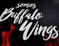 Diseño, illustración y fotografía menú Buffalo Wings.