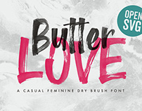 Butter Love - Opentype SVG Lettering Dry Brush Font