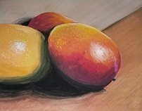 "Gouache painting of mangos 9""x12"""