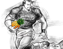 Fruity shot, sports illustration