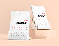 Desk Calendar With Plastic Stand Mockup