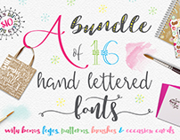 16 Brand new hand lettered fonts for just $10 + extras!