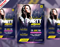 Weekend Party Event Flyer PSD