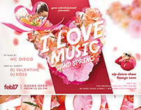 I love music and spring FREE Flyer Template