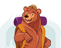 Bear traveler art. Camp illustration for t-shirt