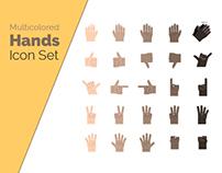 Multicolored Hands Icon Set