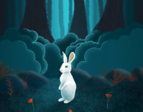Bunny in the woods illustration