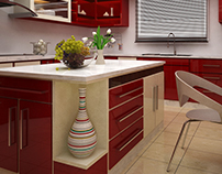 Design of Red&White Kitchen