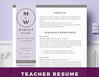 Teacher Resume Template for Ms Word | CV - Margot