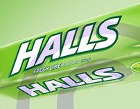 Halls Fresh Mint pack retouch
