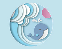 Vector whale in paper cut style