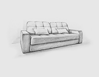 Handmade sketches of sofas