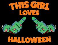 This Girl Loves Halloween T-Shirt Design