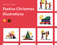 Festive Christmas Illustrations