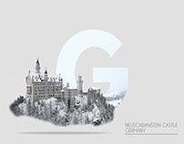 G Letter Landscape Typography