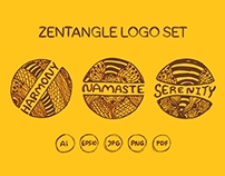 Detailed hand drawn zentangle logo sets