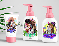 Cool and fun hair care products packaging.