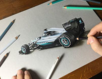 Drawing the Mercedes W07 2016 F1 car