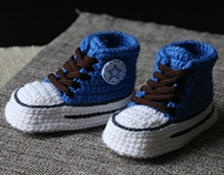 Blue and chocolate sneakers