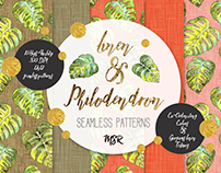 Linen & Philodendron seamless patterns