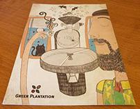 Postcard Illustration For Green Plantation Roasters