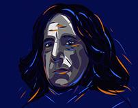 Vector  portrait Severus Snape. Drawing in Adobe Draw