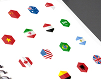185 WORLD FLAGS HEXAGON DESIGN