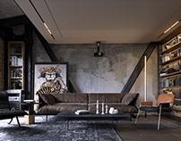 Industrial attic loft
