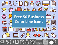 FREE 50 BUSINESS COLOR LINE ICONS