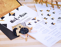 Black & Gold Editorial Wedding Stationery