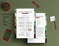 Banana Inflorescense Resume Template / Free Coverletter