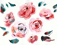 Watercolor paintings of flowers for www.owafashion.com