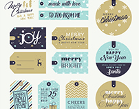 Set of Christmas and New Year's gift tags