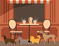 dog cafe illustration