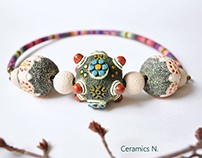 ceramic necklace boho jewelry