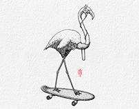 Ink Illustration: iPod Flamingo