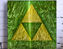"Triforce - etched aluminum - 24"" x 24"""