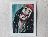 Bob Marley + Super Mario = Bob Mario I use aquarell.