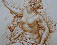 chalk drawing ,crayon coloured pencil, raw umber,